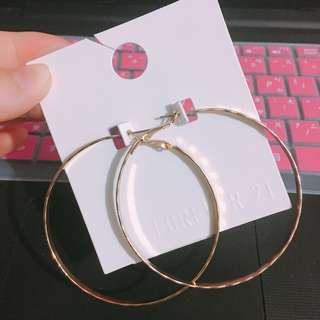 Forever 21 金色圈圈耳環