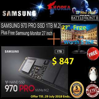 "Samsung 970 PRO 1TB M.2 NVMe PCIe SSD + ""Free 27"" Samsung LED Monitor"" Hurry Grab it Today while Stock Last...( Offer Till 29 July.. 2018 )"