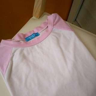 🚚 粉色拼接T