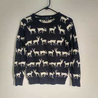 F21 Reindeer knit sweater (black and gold)
