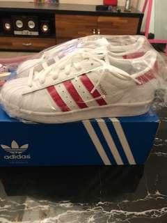 🚚 Adidas Originals Superstar 桃紅色 金標