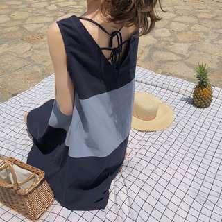 條紋拼接後綁帶美背背心洋裝