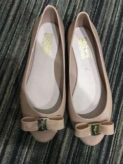 Nude ferragamo jelly flatshoes