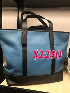 Coach Men's Unisex Blue Black Tote Bag 男裝皮革手挽袋手袋Handbag 黑色藍色leather