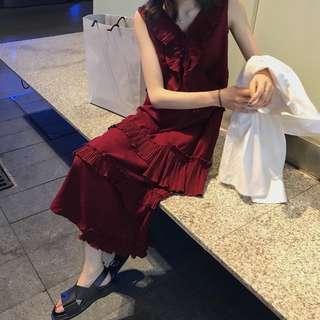 荷葉邊拼接背心洋裝