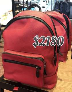 Coach Men's Red Backpack 男裝紅色背包背囊