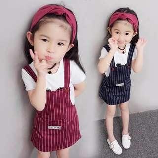 🚚 嚴選 小孩 兒童 女童 短袖 短T 吊帶裙 兩件套裝 直條紋 顯瘦 春夏款 現貨 預購 快速出貨 T'shop