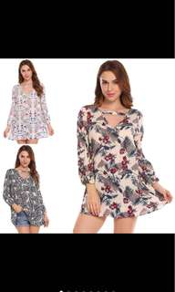 PLUS SIZE V-Neck Long Sleeve Floral Print Blouse