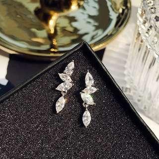 周冬雨同款耳釘女氣質簡約甜美鋯石小水滴耳環日韓S925純銀耳針