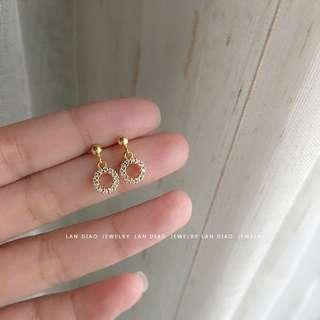 包郵 精緻耳環鋯石圓環耳釘耳飾