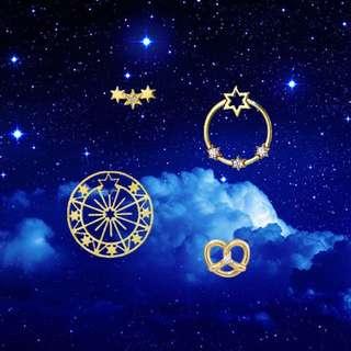 Star日系輕奢珠寶星星摩天輪氣質女耳釘耳環組合套裝情人節禮物
