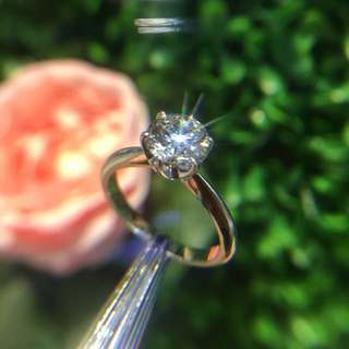 GIA證書 1卡鑽石戒指 18k托