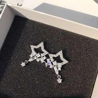 韓國女氣質簡約五角星星水滴耳環日韓S925純銀耳針耳釘