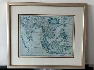 Custom framed collectors item Map of East Indies, reproduced from original by John Speed.