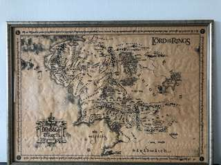 Custom framed collectors item Map of Middle Earth from Lord of the Rings filmset in NZ