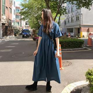 素色襯衫棉麻洋裝