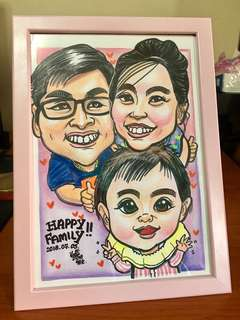 Family Caricature Drawing with Frame