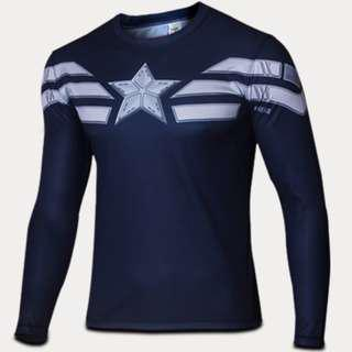 Captain America superhero compression tights long sleeve