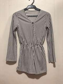 Black & White Stripes Romper
