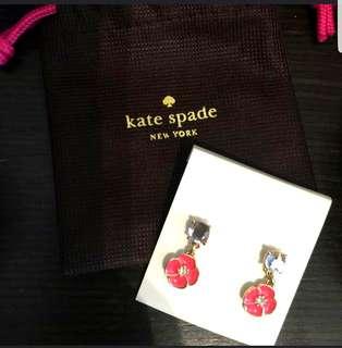 Kate Spade 耳環 earrings 粉紅橙花