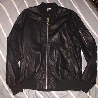 H&M Black Leather Bomber Jacket