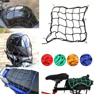 40*40cm Heavy-Duty Elastic Bungee Luggage Cargo Net Mesh Holder 6 Adjustable Hooks for Motorcycle Tank Helmet ATV Bike net