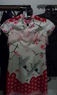 Flamingo dress baju dress pink putih