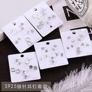 S925純銀鋯石珍珠套裝耳釘防過敏韓國個性氣質創意耳環女耳飾品