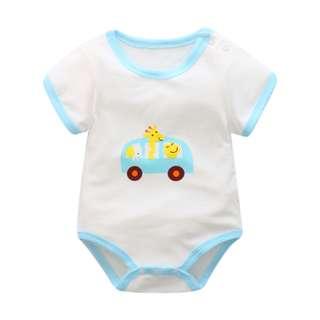 Baby Blue Toy Car Cute Basic Romper