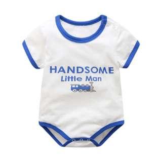 Handsome Little Man Blue Basic Boy Romper