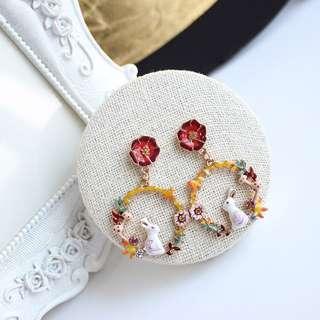 韓國韓版森系精緻琺琅釉可愛愛麗絲兔子防過敏耳針無耳洞耳夾耳墜