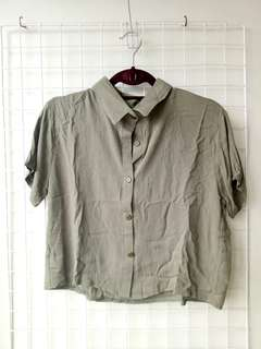 OLIVE GREEN Polo Button Down Shirt