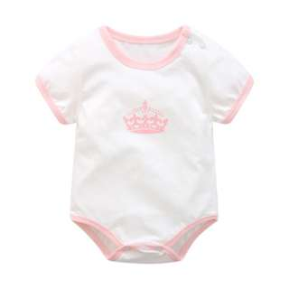 Baby Pink Princess Tiara Crown Basic Romper
