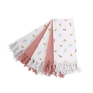 Childhome Cloths Tetra Set (3 Printed Tipi & 2 Nude with Fringes)