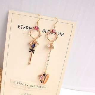 巴洛克復古風宮廷心形蝴蝶結鑰匙立體皇冠長款不對稱耳環無洞耳夾