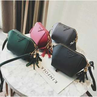 🚚COD #2345 Korean Leather Tassel Dumplings sling bag