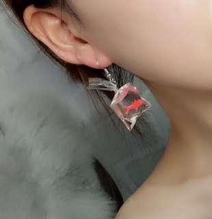 韓國韓版手作日系和風可愛S925純銀耳鈎小魚耳環無耳洞耳夾耳飾女