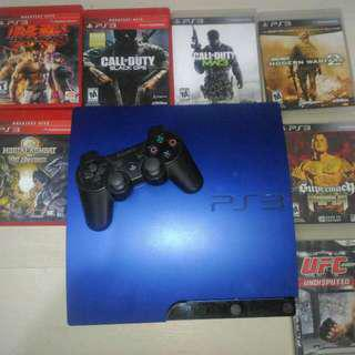 PS3 Slim with CDs and Controller