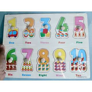 Wooden Peg Puzzle - Numbers 1 - 10