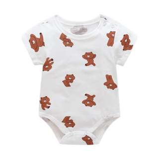 Line Friends brown Bear Basic White Baby Romper