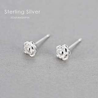 925純銀玫瑰花耳釘女防過敏養耳洞耳環耳飾小耳墜精緻氣質簡約