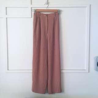 🚚 粉色壓褶寬褲