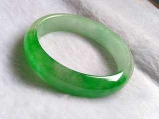 😆CLEARANCE! (58.2mm) Grade A 冰糯 Green Jadeite Jade Bangle