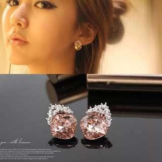 清靈復古多切面超閃滿鑽氣質款香檳水晶無耳洞軟墊耳釘耳夾女韓國