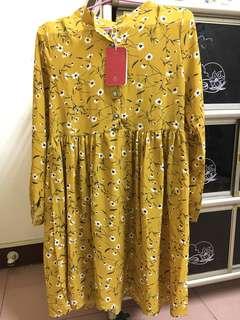 🚚 復古 古著 黃色碎花洋裝