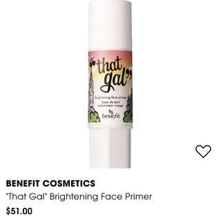 "BENEFIT COSMETICS ""That Gal"" Brightening Face Primer"
