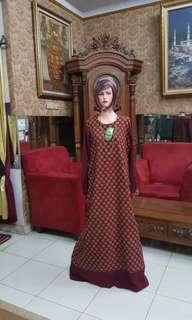 Gamis elegan batik katun Tangan kancing L