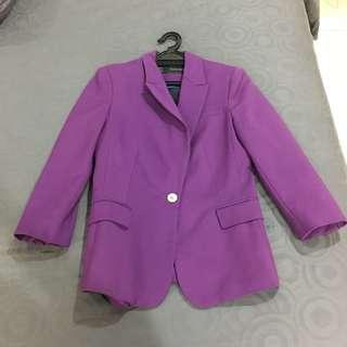 [Preloved] Zara Purple Basic Blazer S Size
