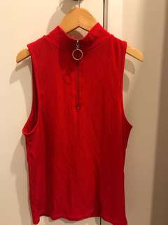 RED RIBBED TURTLE NECK WITH ZIP SIZE SMALL