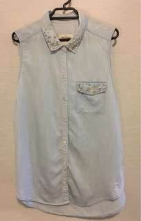 ABERCROMBIE & FITCH Denim Jewelled Collar Button Down Sleeveless Shirt